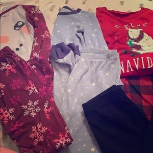 Bundle 3 pajama sets and one pair of thermal pants